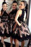 Modest High Neck Black Lace Homecoming Dress Chic Open Back Bridesmaid Dresses B534