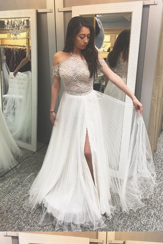 White A-Line Tulle Halter Off-Shoulder Floor-Length Beading Long Prom Dresses P566