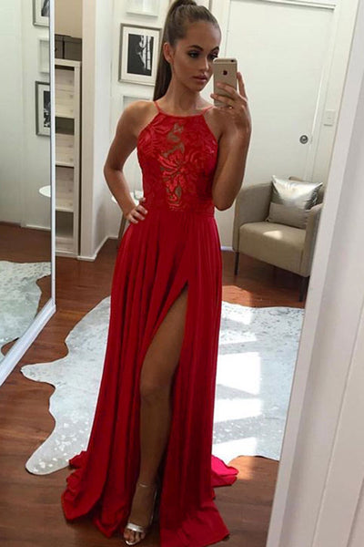 Cheap Red Chiffon Halter Sleeveless Floor-Length Side Slit Long Prom Dress,Graduation Dress,P542 - Ombreprom