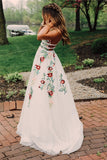 Elegant Lace A Line Backless Prom Dress with Handmade Flower Appliques P887