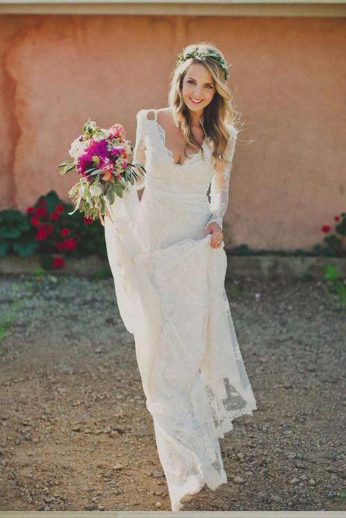 Simple V Neck Lace Appliques Long Wedding Dress With Long Sleeves W475
