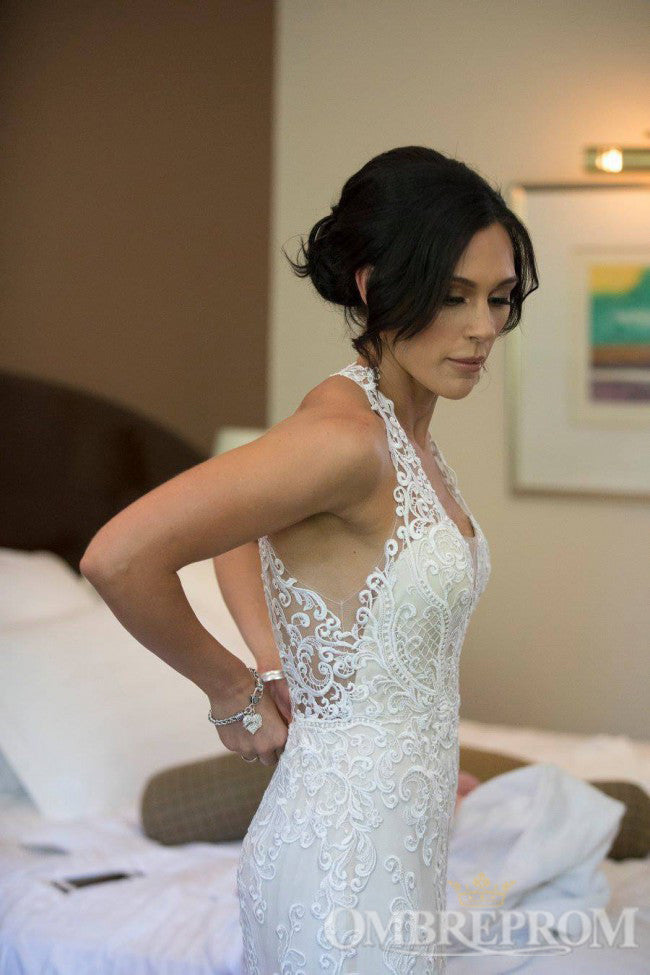 Halter V Neck Sleeveless Mermaid Wedding Dresses with Appliques W576