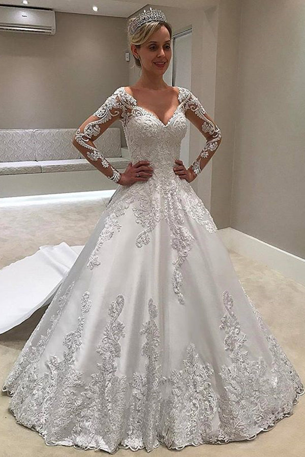 Lace Wedding Dress With Sleeves.Elegant Long Sleeves Sweetheart Ball Gown Lace Wedding Dress W529