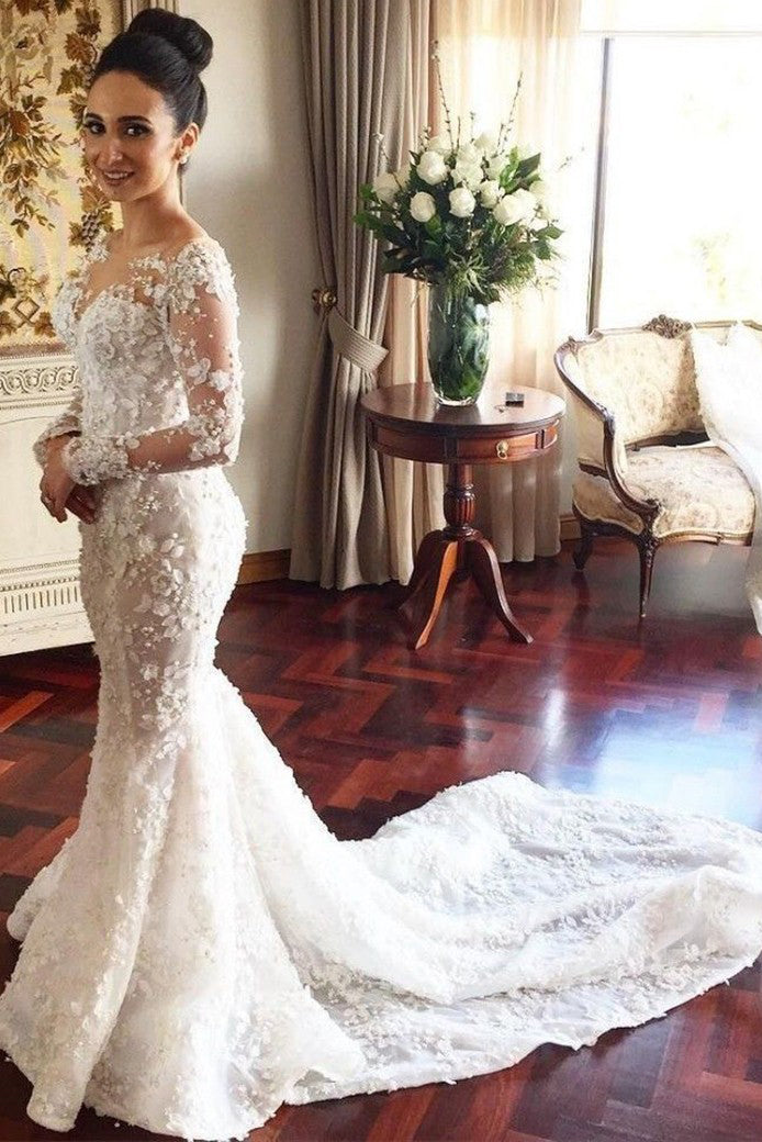 Chic Mermaid Long Sleeves Sweep Train Wedding Dress with Lace Appliques W482