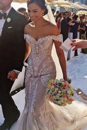 fc3a51a1adb55 Mermaid Lace Appliques Off Shoulder Wedding Dress Sweep Train W487 ...