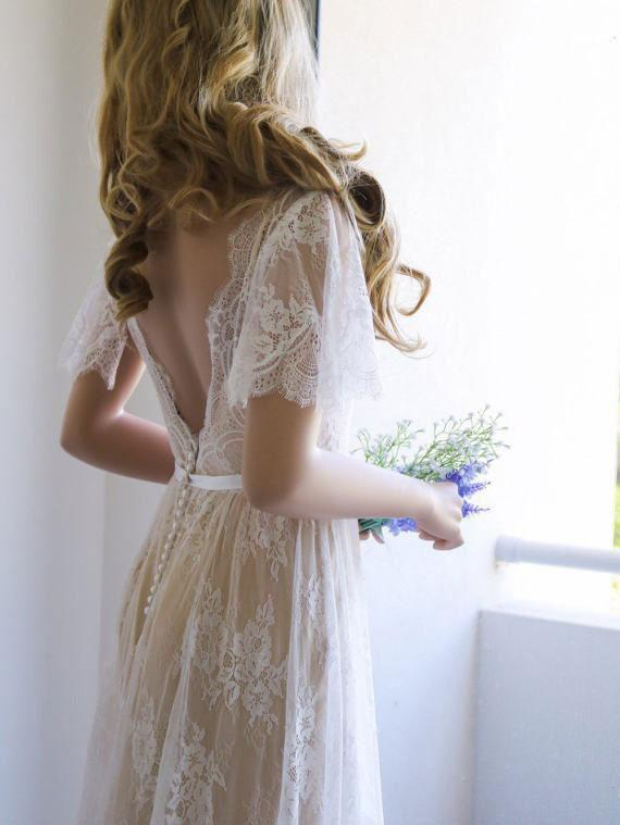 Romantic Open Back V Neck Short Sleeves Wedding Dresses W368