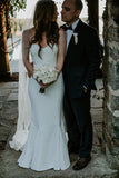 Chic Mermaid Sweetheart Sweep Train Wedding Dress Long Birde Dress W564