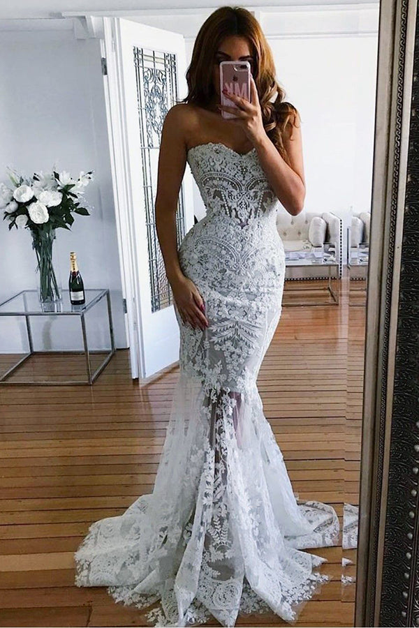 Elegant Sweetheart Lace Mermaid Sleeveless Beach Wedding Dress W551