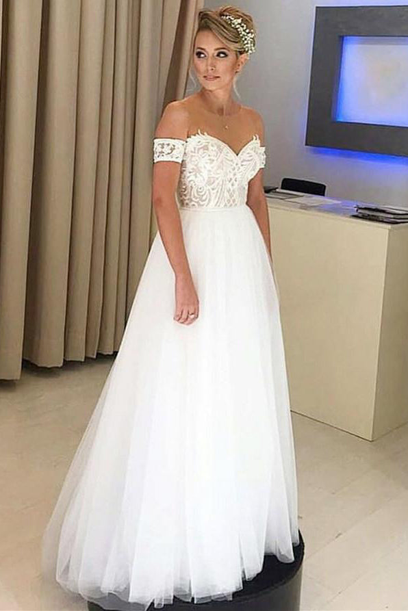 Chic Off the Shoulder Sweetheart Floor Length Tulle Wedding Dress W477