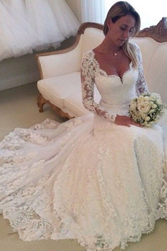Charming Long Sleeves V Neck Sweep Train Wedding Dress Lace Appliques W478
