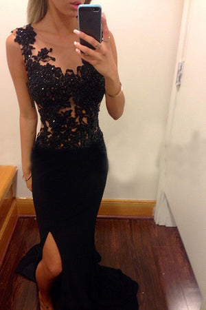 Black Sheath Scoop Sleeveless Applique Sweep Train Chiffon Long Prom Dresses P568 - Ombreprom