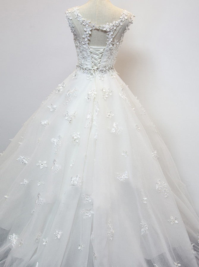 Organza Scoop Cap Sleeves Floor-Length Wedding Dress with Beading Appliques - Ombreprom