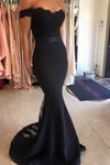 Black Long Mermaid Off the Shoulder Prom Dresses with Sash P584 - Ombreprom