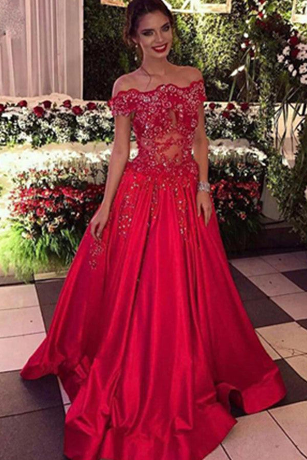 Red Off-the-Shoulder A-line Ball Gown Applique Beaded Satin Prom Dress P569