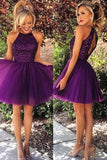 Halter Sexy A-line Scoop Beaded Tulle Sleeveless Purple Backless Short Cocktail Homecoming Dress, Short/Mini Prom Dress,GH45