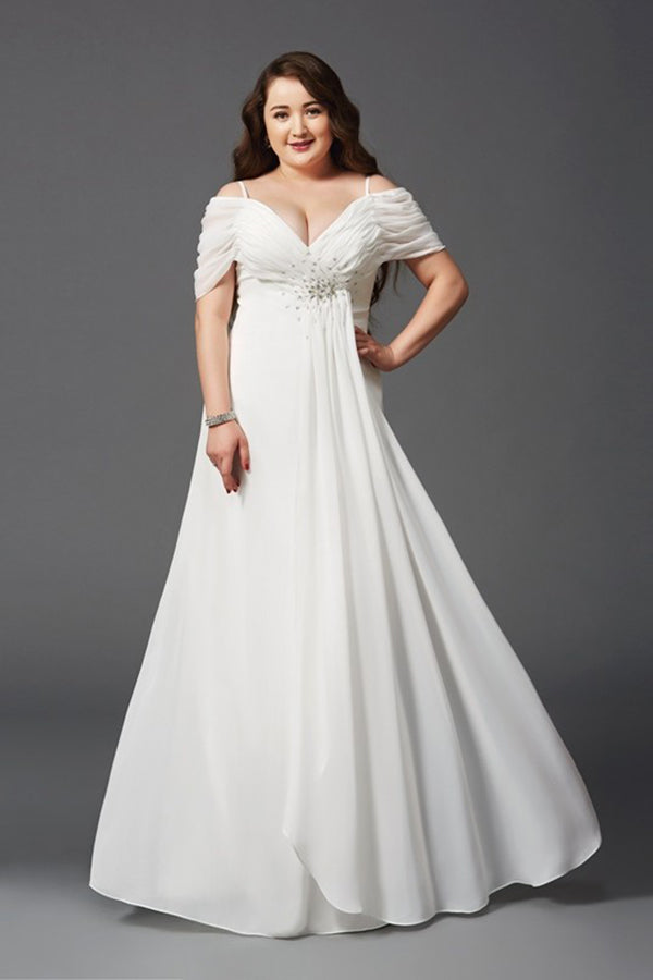 Charming Chiffon White A-Line Off-the-Shoulder Ruched Short Sleeves Long  Plus Size Dresses S22
