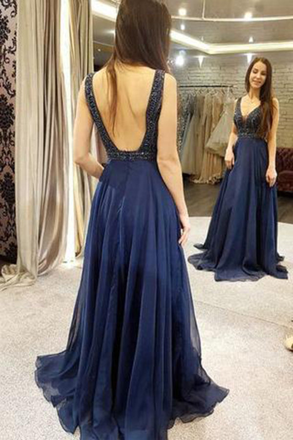 Chic Deep V Neck Open Back A Line With Beading Prom Dress P675