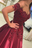 Red Satin Sleeveless Ball Gown Off-the-Shoulder Applique Floor-Length Long Prom Dresses
