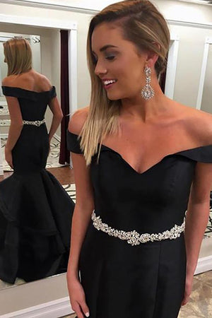 Black Mermaid Off-the-Shoulder Sleeveless Beading Floor-Length Long Prom Dresses P561 - Ombreprom