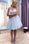 Sweetheart Straps Appliques Tulle Knee Length Homecoming Dress M475