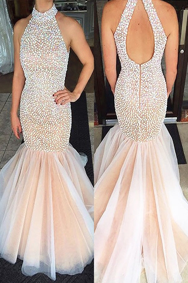 Pearl Pink Mermaid Halter Sleeveless Beading Tulle Floor-Length Long Prom Dresses P559