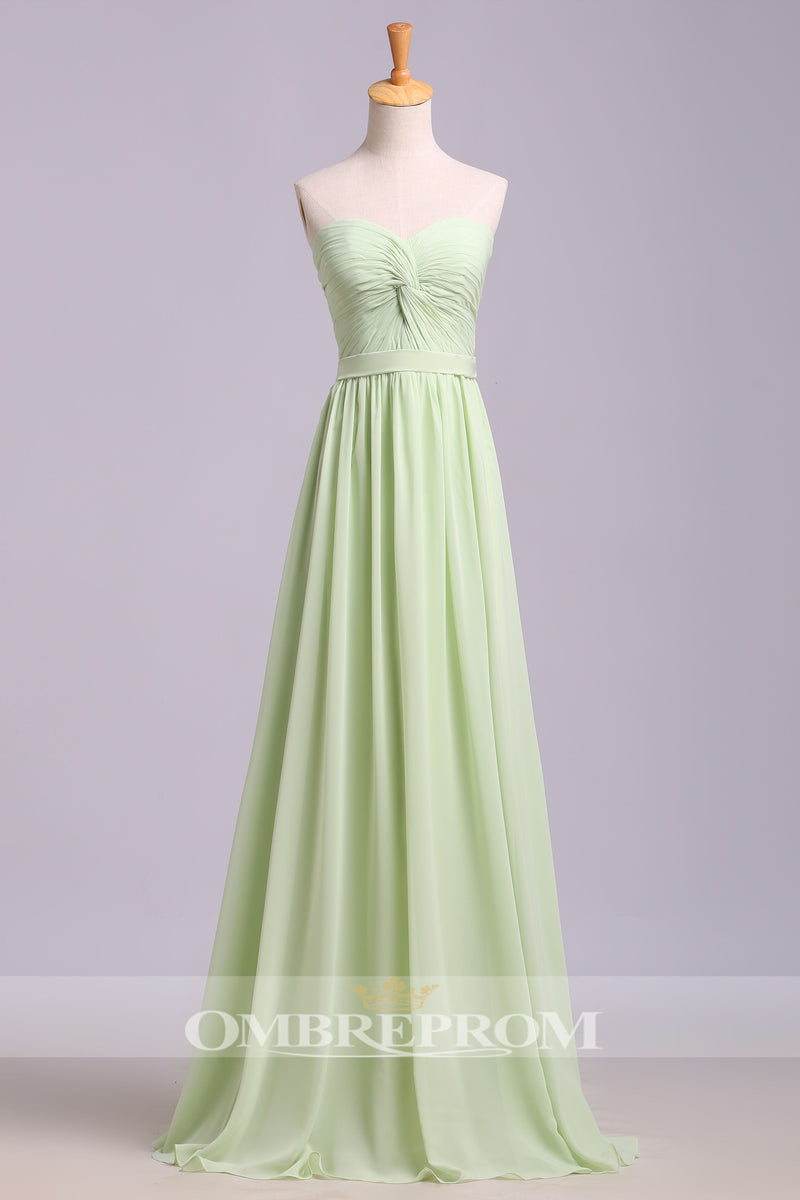 Simple Sweetheart Strapless Pleats Sleeveless Chiffon Floor Length Prom  Dress P764 169ca74ee