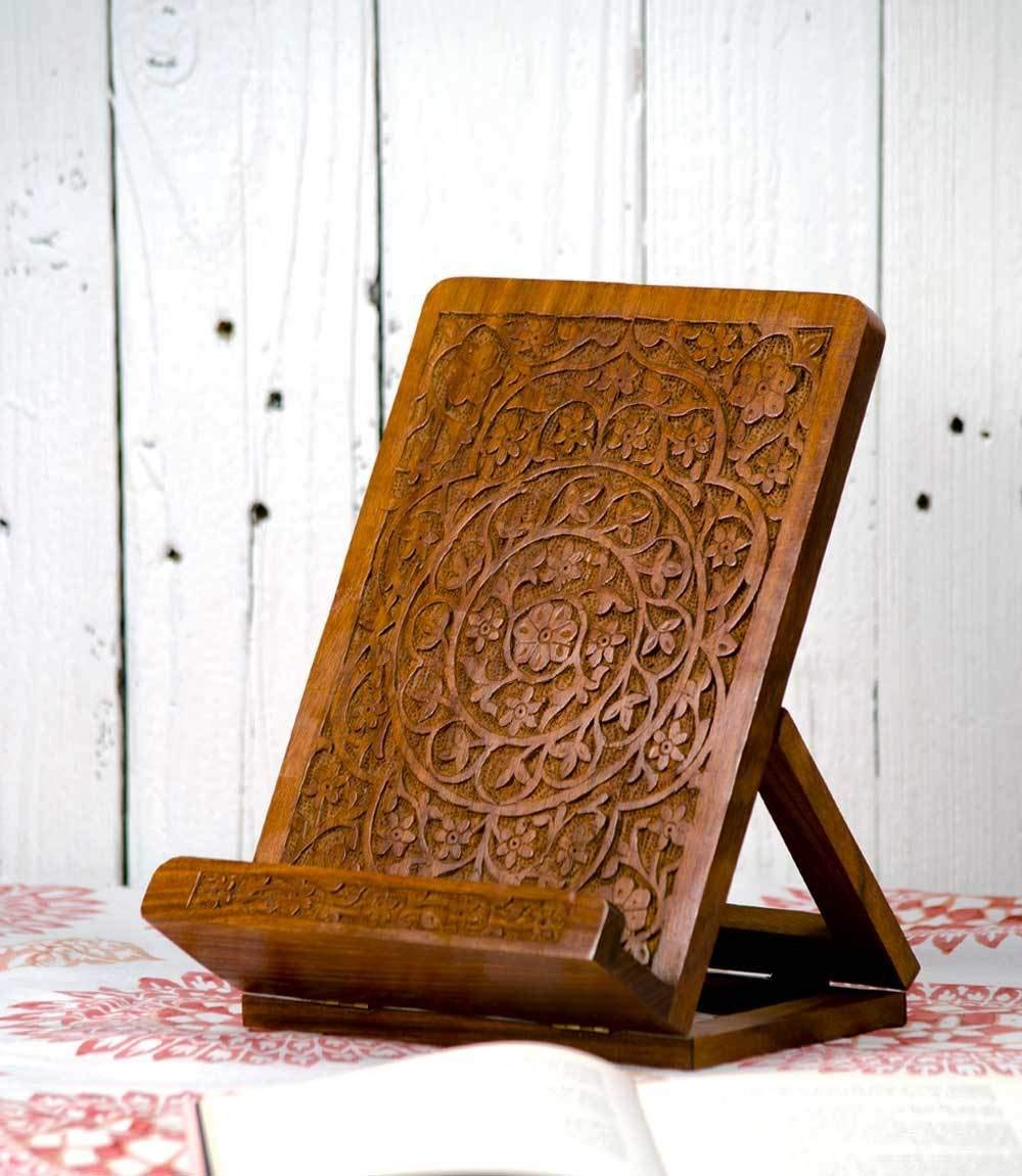 Carved ROSEWOOD Tablet And Book Stand