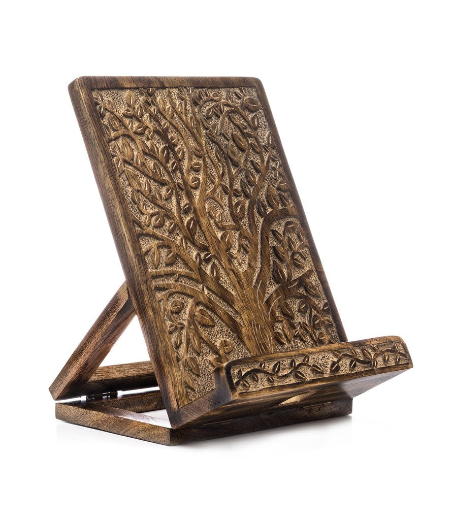 Hand Craved Tablet And Book Stand