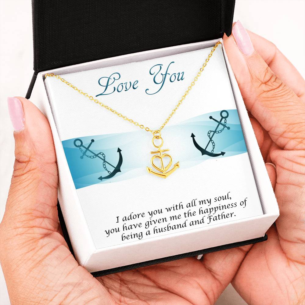From Husband To Wife (Mother To His Child) - Anchor With Heart Necklace