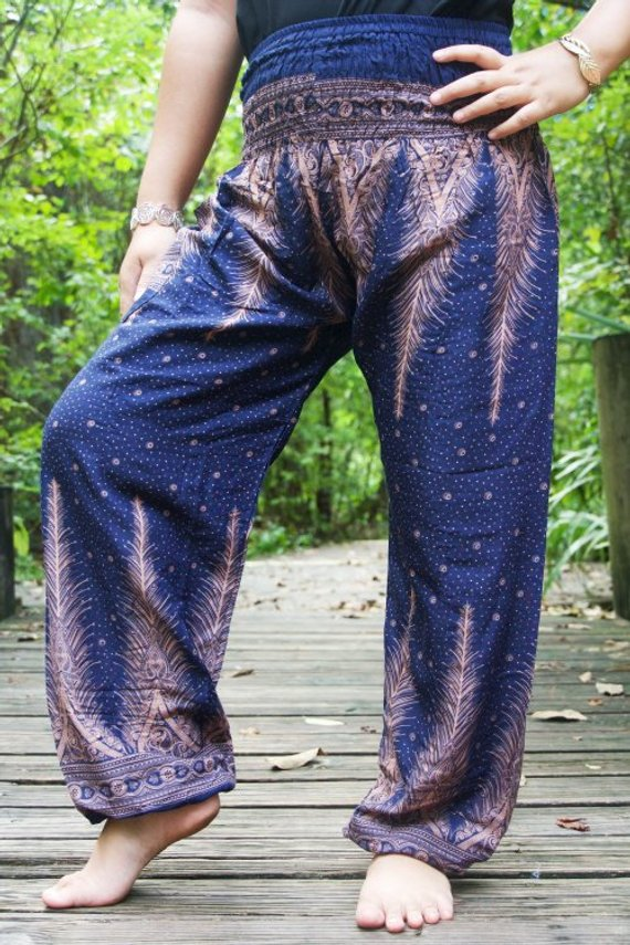 Peacock Boho Pants Hippie Yoga Pants Mnnstore