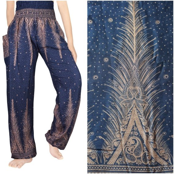 PEACOCK Boho,Pants,Hippie,Yoga Pants