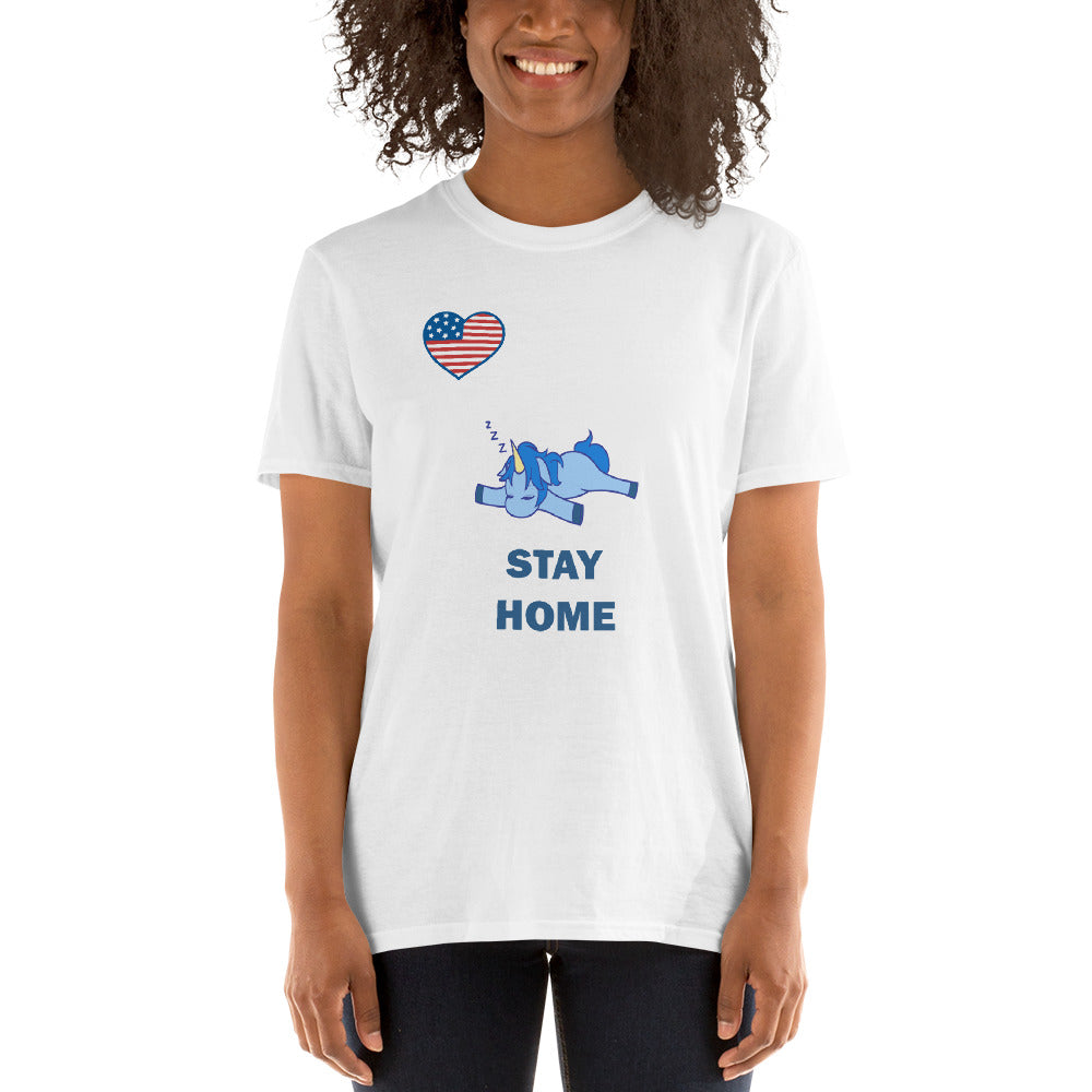 Stay Home - Unicorn (Short-Sleeve Unisex T-Shirt)