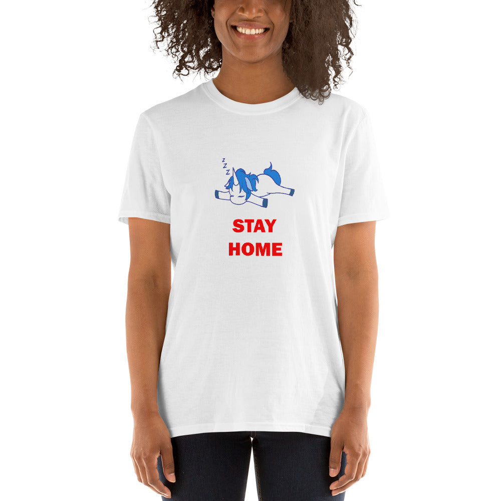 Stay Home - Lazy Unicorn (Short-Sleeve Unisex T-Shirt)