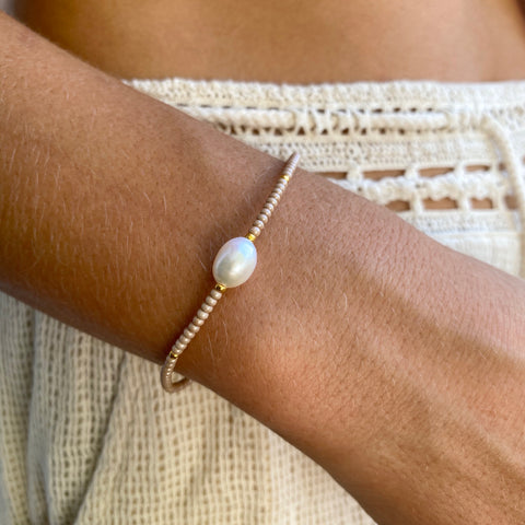 1 Pearl Gold Fine Bead Bracelet - Athena+Co - Jewellery - Jewelry - Beaded - Necklace - Bracelet - Fashion