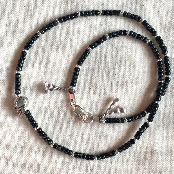Skull Black & Silver Bead Choker / Necklace - Athena+Co - Jewellery - Jewelry - Beaded - Necklace - Bracelet - Fashion