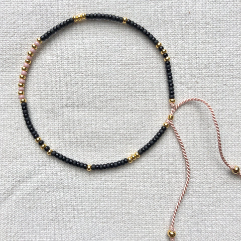 Crystal Black, Pink & Gold Fine Bead Bracelet - Athena+Co - Jewellery - Jewelry - Beaded - Necklace - Bracelet - Fashion
