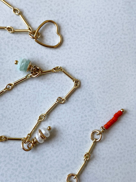 Fine Gold Link & Charm Necklace