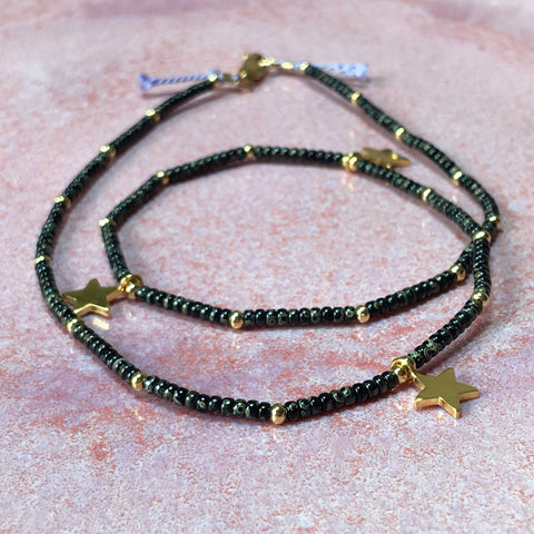 Golden Stars Smokey Black Fine Bead Choker / Necklace - Athena+Co - Jewellery - Jewelry - Beaded - Necklace - Bracelet - Fashion