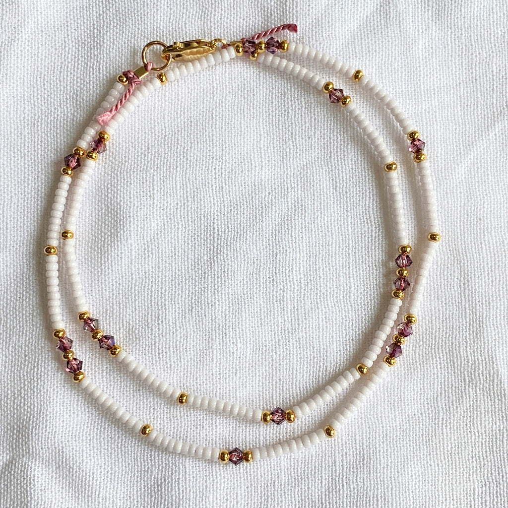Crystal White & Gold Fine Bead Necklace