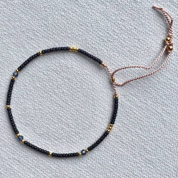 Crystal Black & Gold Fine Bead Bracelet - Athena+Co - Jewellery - Jewelry - Beaded - Necklace - Bracelet - Fashion
