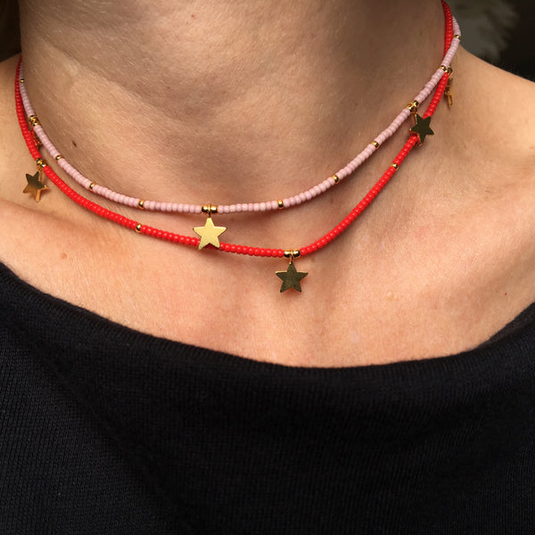 Golden Stars Rouge Fine Bead Choker/Necklace - Athena+Co - Jewellery - Jewelry - Beaded - Necklace - Bracelet - Fashion