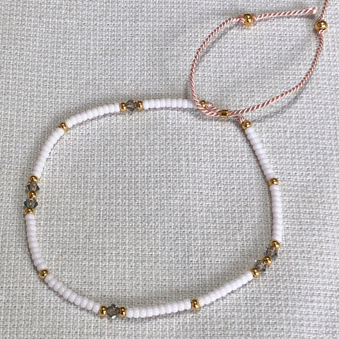 Crystal White & Gold Fine Bead Bracelet - Athena+Co - Jewellery - Jewelry - Beaded - Necklace - Bracelet - Fashion