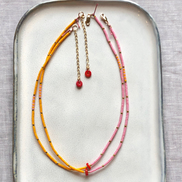 Coral Disc Fine Bead Necklace / Choker - Athena+Co - Jewellery - Jewelry - Beaded - Necklace - Bracelet - Fashion