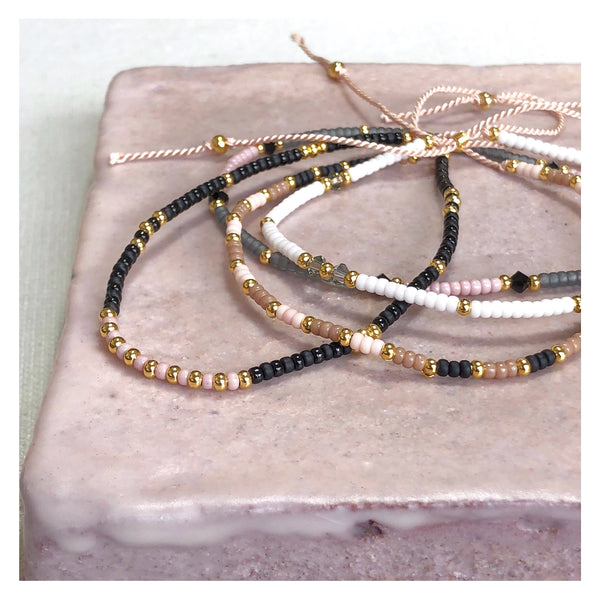 Crystal Grey, Pink & Gold Fine Bead Bracelet - Athena+Co - Jewellery - Jewelry - Beaded - Necklace - Bracelet - Fashion