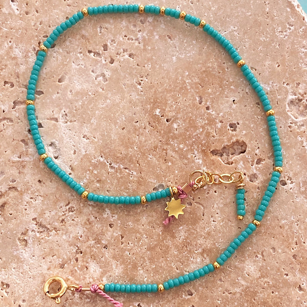 Turquoise Star Fine Bead Anklet