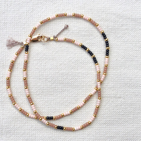 Tonal Stripes with a Touch of black Fine Bead Choker / Necklace - Athena+Co - Jewellery - Jewelry - Beaded - Necklace - Bracelet - Fashion