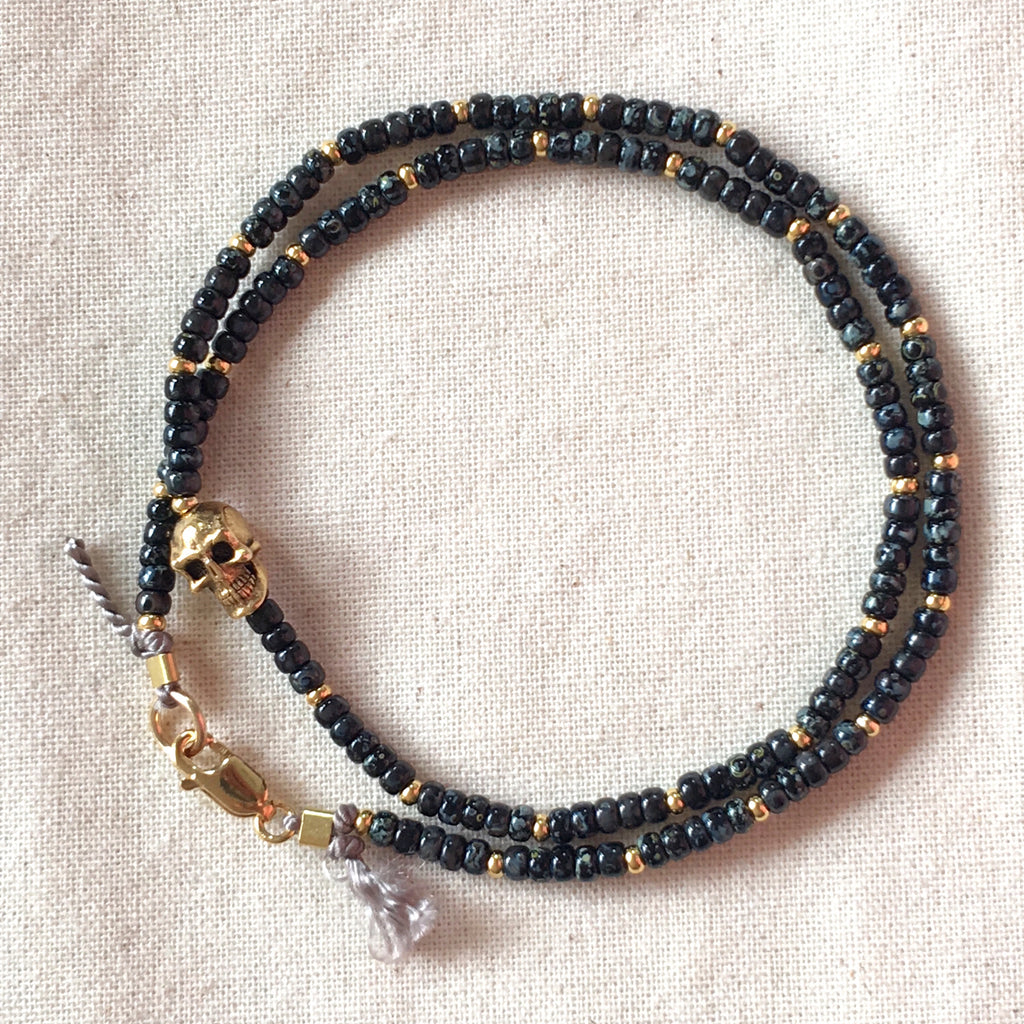 Skull Black & Gold Bead Choker / Necklace - Athena+Co - Jewellery - Jewelry - Beaded - Necklace - Bracelet - Fashion