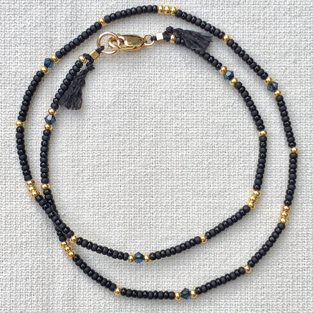 Crystal Black & Gold Fine Bead Choker Necklace - Athena+Co - Jewellery - Jewelry - Beaded - Necklace - Bracelet - Fashion