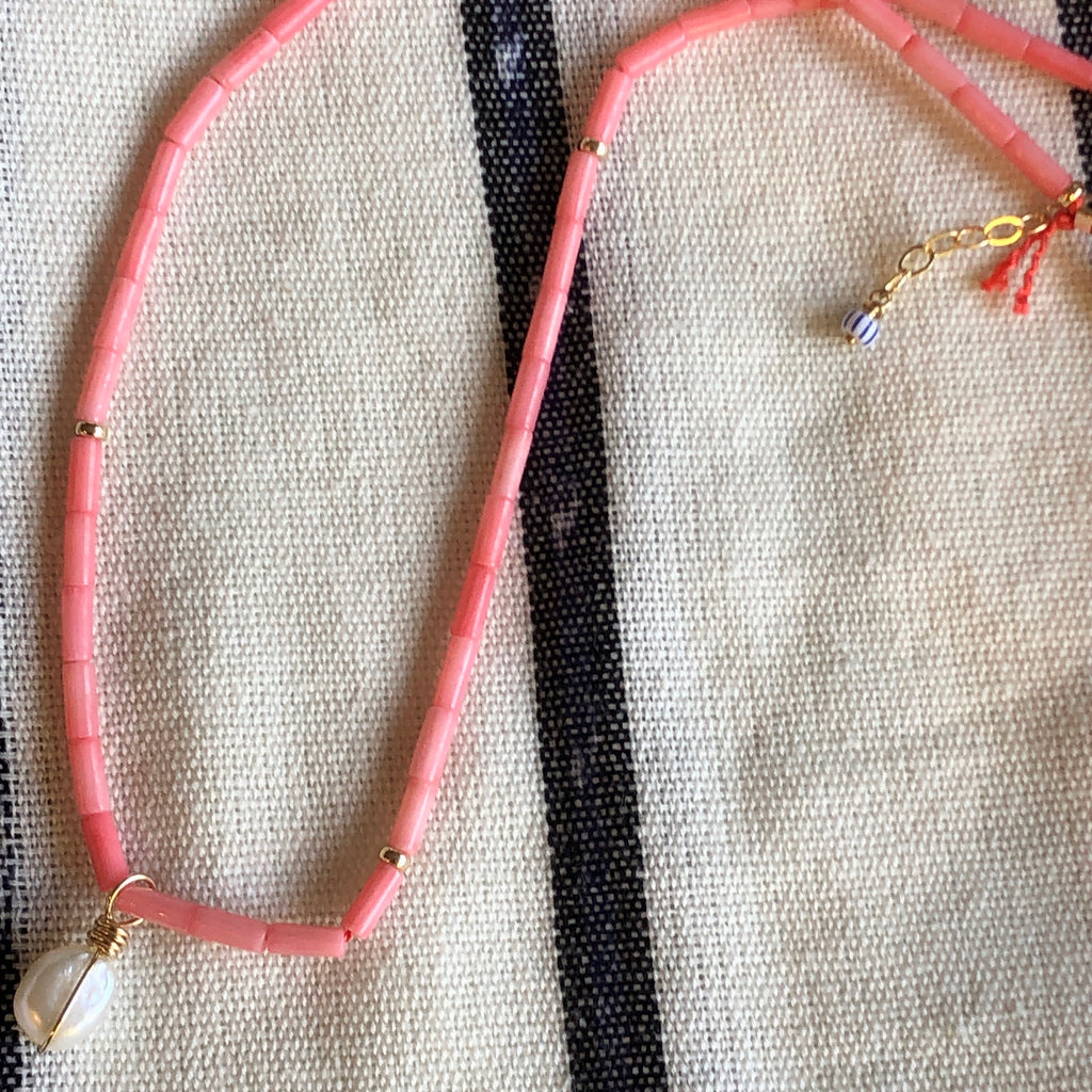 Coral Tube Bead Choker / Necklace