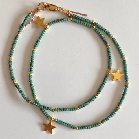 Golden Stars Seafoam Fine Bead Choker/Necklace - Athena+Co - Jewellery - Jewelry - Beaded - Necklace - Bracelet - Fashion